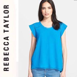 Rebecca Taylor Split Back Crepe Top in Blue